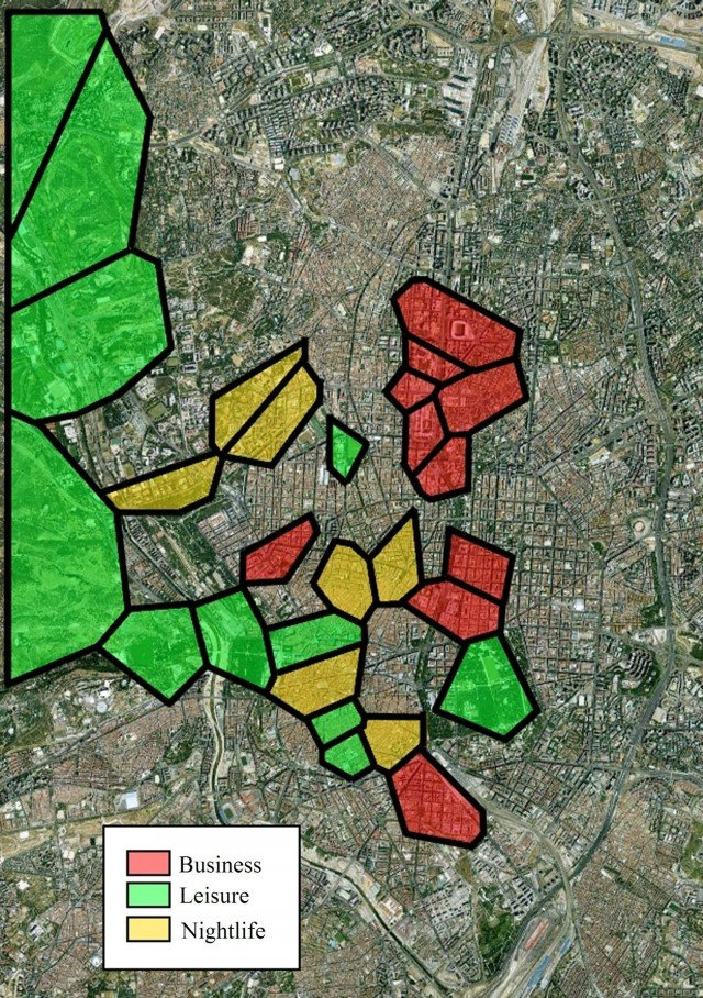 Layout of businesses, nightlife and leisure areas in Madrid using Twitter are illustrated here. The uncolored part corresponds to residential areas. Image credit: V. y E. Frías-Martínez