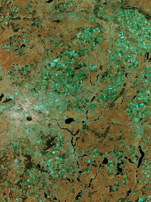 This image of Berlin, Germany, captured by Sentinel-1A is one of the first images delivered via the precursor European Data Relay System (EDRS) carried on Alphasat, which is in geostationary orbit 36 000 km above Earth. The image is a result of the two satellites using their optical communications instruments to transfer data via laser for fast delivery. Alphasat's 'technology demonstration payload' shows how the EDRS space data highway will make large volumes of data from satellites in low orbit available almost instantly. Sentinel-1A transmits data to Earth routinely when passing over ground stations in Norway, Italy and Spain. Copyright Copernicus data/ESA (2014)