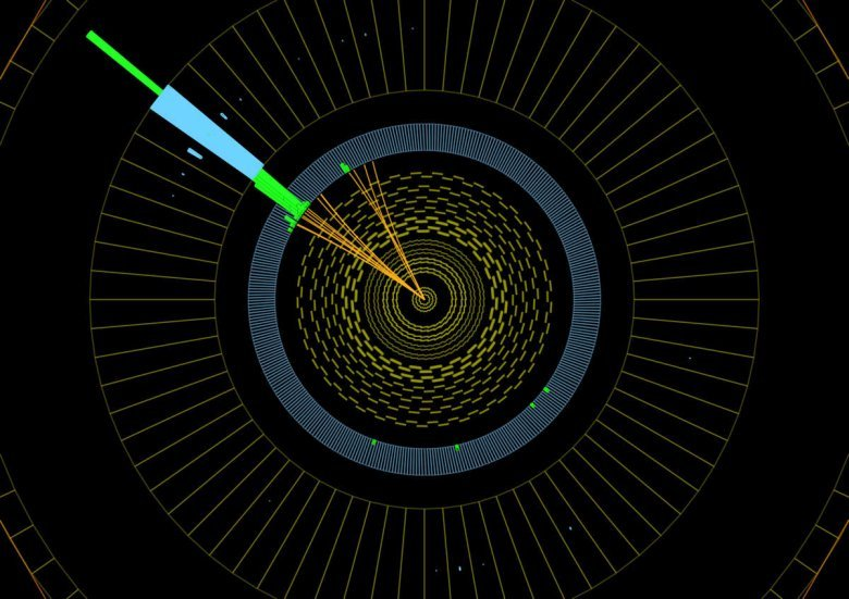 Collisions like these indicate the existence of invisible particles. The blob of color in the upper left hand corner shows where particles were knocked out of the collision to deposit energy in the detector. The fact that we see no balancing energy in the lower right hand corner means that an invisible particle has escaped the detector. As the number of simultaneous collisions in the LHC increases, it will become increasingly difficult to study this kind of physics.