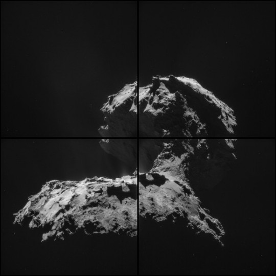 "Erupting gas and dust is just visible in the ""neck"" region of Comet 67P/Churyumov-Gerasimenko in this montage taken Nov. 26, 2014 by the Rosetta spacecraft. Credit: ESA/Rosetta/NAVCAM – CC BY-SA IGO 3.0"