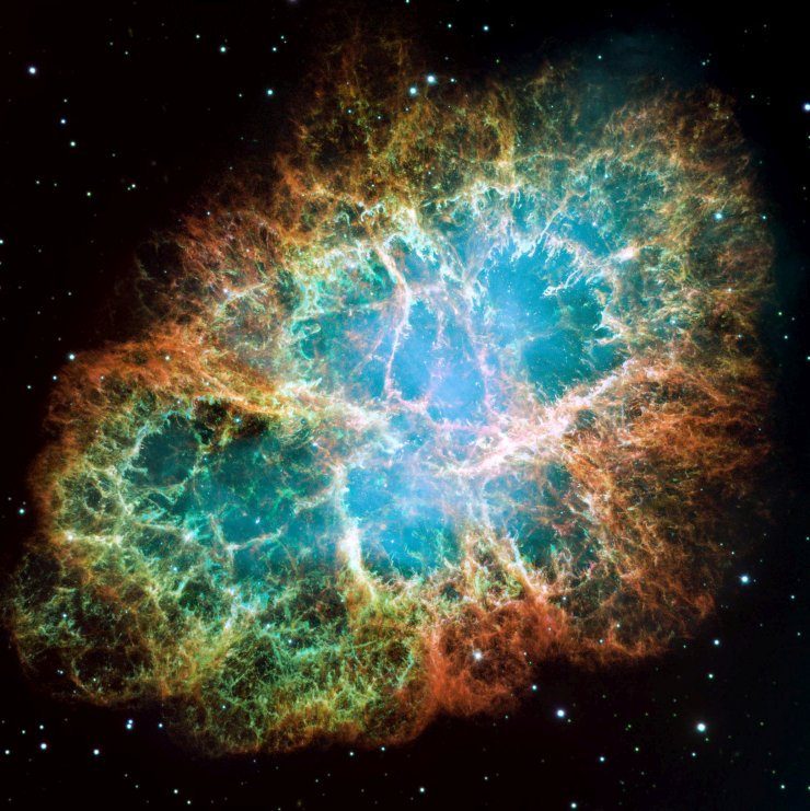 Our eyes would never see the Crab Nebula as this Hubble image shows it. Image credit: NASA, ESA, J. Hester and A. Loll (Arizona State University)