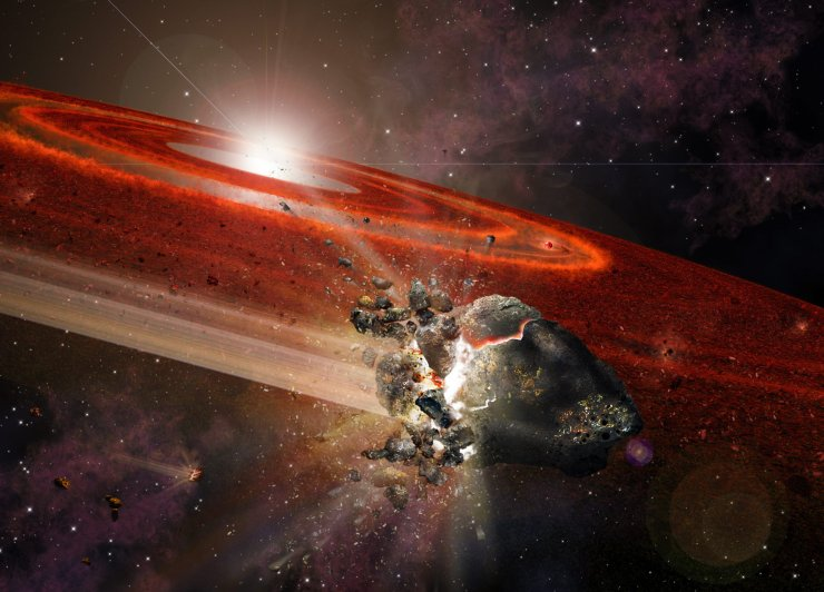 """Artist impression of the debris disk around HD 107146. This adolescent star system shows signs that in its outer reaches, swarms of Pluto-size objects are jostling nearby smaller objects, causing them to collide and """"kick up"""" considerable dust. Credit: A. Angelich (NRAO/AUI/NSF)"""