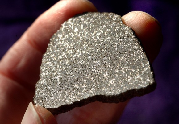 Did this slice of meteorite come from Hebe? A 12.9-gram specimen of NWA 2710, an H5 stony chondrite, sparkles in the light. The shiny flecks are iron-nickel metal set in a stony matrix. Credit: Bob King