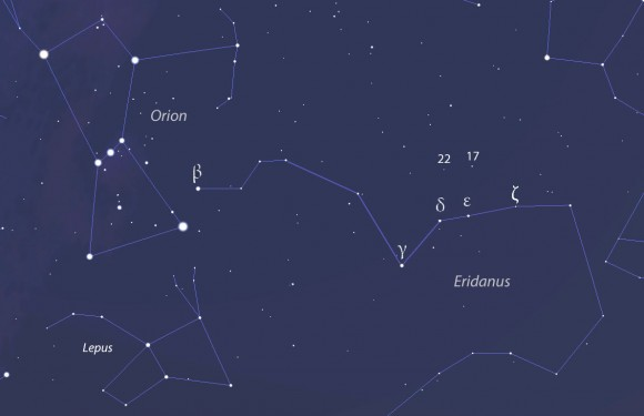Use this wide view of the sky to get oriented before zeroing in with the more detailed map above. Hebe lies just a few degrees north of Delta and Epsilon Eridani for much of December. Best viewing time is from 10 p.m. to 2 a.m. local time early in the month. Source: Stellarium