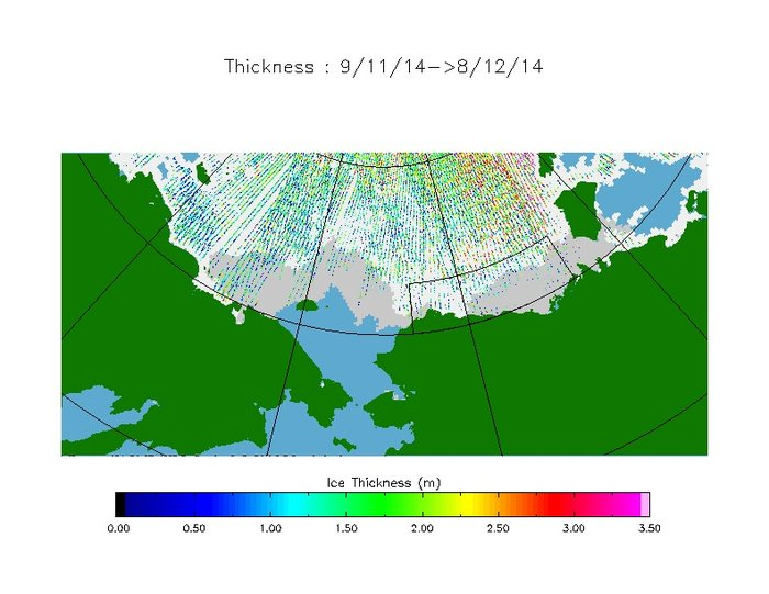 Arctic sea ice thickness from CryoSat data acquired between 9 November and 8 December 2014. Bright white shows the sea ice extent at the start of the period, while light grey is the extent at the end. Coloured dots show ice thickness up to 3.5 m (pink). Scientists are working to deliver operational capabilities from the CryoSat mission, so that the measurements can be used for routine assessments in climate science and for services affected by Arctic sea ice, such as shipping. Copyright ESA/CPOM