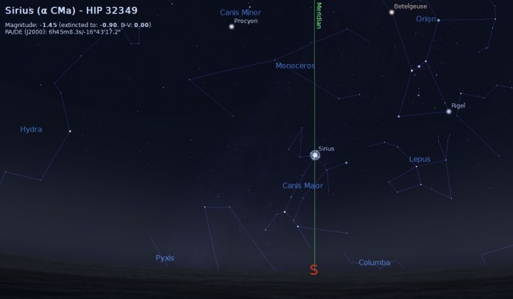 Sirius crossing the meridian at local midnight on New Year's Eve. Credit: Stellarium.