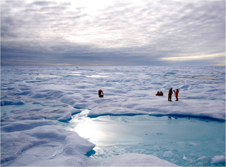 Field Work in the Arctic sea ice. Photo: Thomas A. Brown and Simon T. Belt