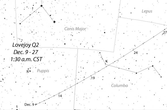 Detailed map showing the comet tomorrow December 9th through December 27th in the early morning hours (CST). Stars shown to magnitude +8.0. Source: Chris Marriott's SkyMap software