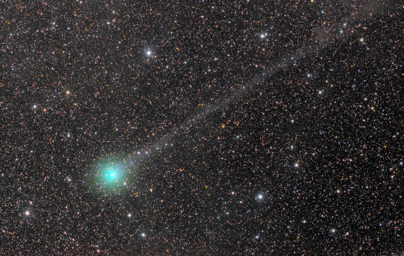 Like a Christmas ornament dangling from string, Comet Lovejoy Q2 is just now coming into good view for northern hemisphere observers. This photo was taken on November 26th and shows a bright coma and long, delicate ion tail. Credit: Rolando Ligustri