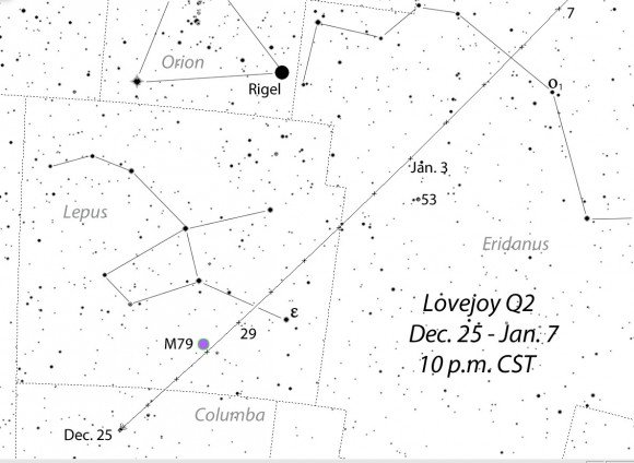 Because Comet Lovejoy moves rapidly into the evening sky by mid-late December, its position on this detailed map is shown for 10 p.m. (CST) nightly. Credit: Chris Marriott's SkyMap software