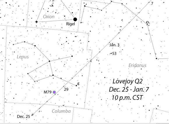 Comet Lovejoy picks up speed in late December as it travels from southern Lepus into Eridanus. Its position shown nightly at 10 p.m. (CST). On Sunday night December 28th it passes very close to the bright globular cluster M79. Stars shown to magnitude +8.0. Source: Chris Marriott's SkyMap software