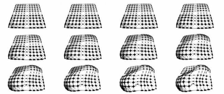A printable, self-deforming material that changes its surface area in order to curve in two different directions simultaneously. Image courtesy of the researchers