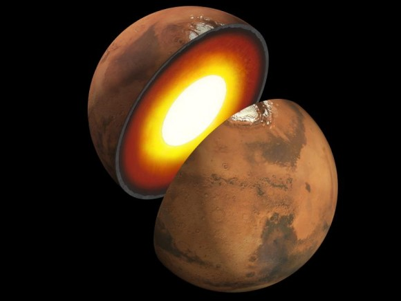 Artist rendition of the interior of Mars. Image credit: NASA/JPL-Caltech