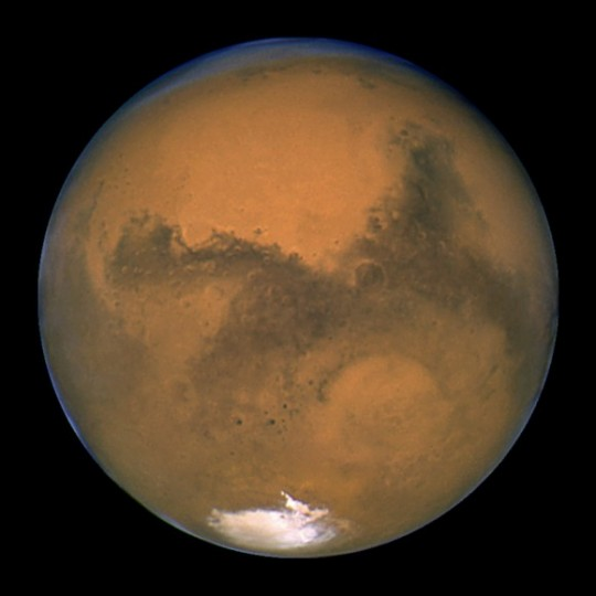 Close-up of the Red Planet, taken by NASA's Hubble Space Telescope. Credit: NASA