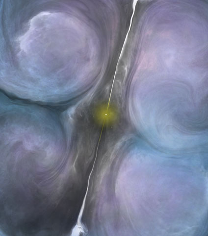 Artist impression of the central region of NGC 1266. The jets from the central black hole are creating turbulence in the surrounding molecular gas, suppressing star formation in an otherwise ideal environment to form new stars. Credit: B. Saxton (NRAO/AUI/NSF)