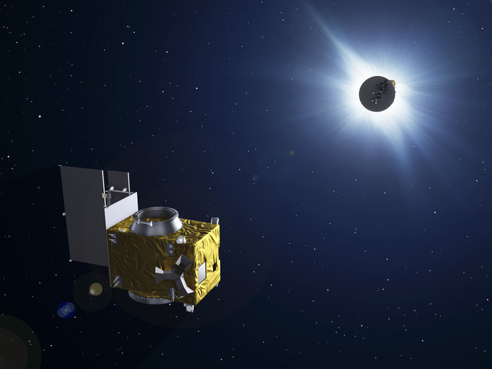The two satellites of Proba-3 will fly in formation to form an external coronagraph in space, one satellite eclipsing the Sun to allow the second to study the otherwise invisible solar corona. Copyright ESA - P. Carril, 2013