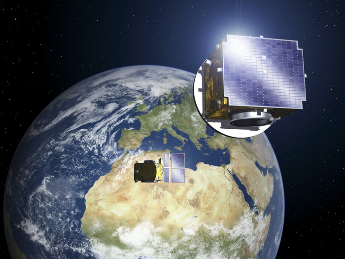 Proba-3's pair of satellites will be in a highly elliptical orbit around Earth, performing formation flying manoeuvres as well as scientific studies of the solar corona. The occulter satellite will have solar panels on its Sun-facing side. Copyright ESA - P. Carril, 2013