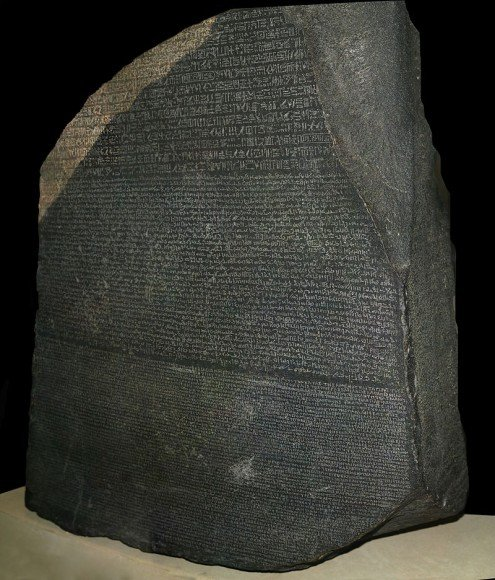 The Rosetta stone, now displayed at the British Museum in London, was used by Jean-Francois Champollion to decipher Egyptian heiroglyphics. The same message is given in three languages, Egyptian Hieroglyphics (top), Demotic (middle), and Greek (bottom). It is a useful example of what we may need to engage in interstellar communication, Credit: Hans Hillewaert, British Museum