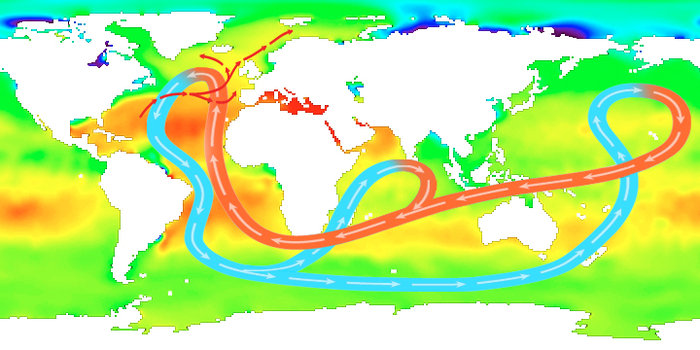 Average sea-surface salinity values. Areas of red indicate regions of high salinity, and areas of green indicate regions of low salinity. The map is overlaid with the simplified global circulation pattern called the 'thermohaline circulation'. The blue arrows indicate cool deeper currents and the red indicate warmer surface currents. Temperature (thermal) and salinity (haline) variations are key variables affecting ocean circulation. Copyright ESA