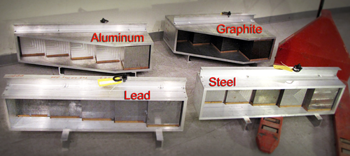The four step wedges used as test objects in the study.