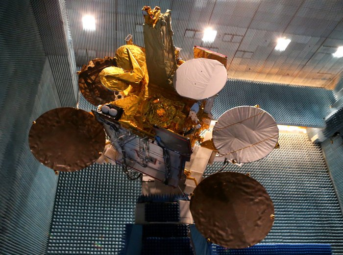The Eutelsat-9B satellite with its EDRS-A payload is shown in the anechoic test chamber of Airbus Defence and Space in Toulouse, France. Copyright Airbus Defence and Space SAS 2014