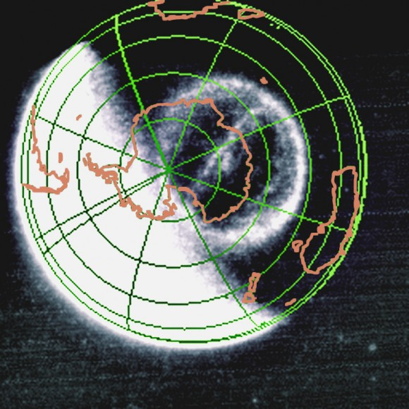 The Theta Auroral Oval as observed by the NASA IMAGE FUV camera on September 15, 2005 and anlayzed using Cluster data in the paper by Fear et al. (Credit: NASA/SWRI)