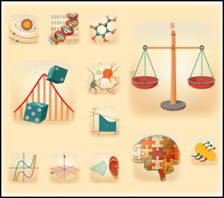 These icons represent the multidisciplinary themes addressed by the STEM Concept Videos from the MIT Teaching and Learning Lab. Image: Krista Shapton for Vecna Cares; Chris French, Ink Design Inc.; and MIT OpenCourseWare.
