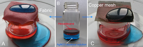 The superhydrophobic fabric (A) and superhydrophobic copper mesh (C) used for oil–water separation. Hexadecane (colored with oil red) easily pass through the fabric and copper mesh, whereas water droplets (AgNO3 aqueous solution, dyed with methylene blue) bead up on their surfaces. (Image by ZHANG Zhzozhu et al.)