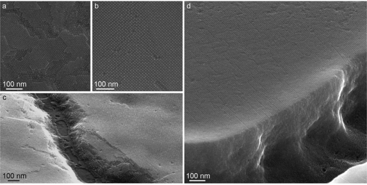 Chemical engineering graduate student Mark Weidman characterized the superlattice formation of lead sulfide (PbS) nanocrystals. SEM micrographs of spin-coated quantum dot (QD) films made from the large diameter QDs show (from top left), a) top-view of an exposed BCC (110) plane; b) top-view of an exposed BCC (100) plane; c) film with discontinuity showing the average thickness of approximately 15 nanocrystals; and d) horizon-view of a QD superlattice with exposed edge. Image courtesy of Mark C. Weidman.
