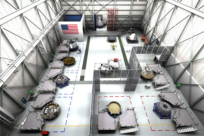 Concept of the floor of the CST-100 assembly facility that Boeing envisions at Kennedy Space Center. Image Credit: Boeing