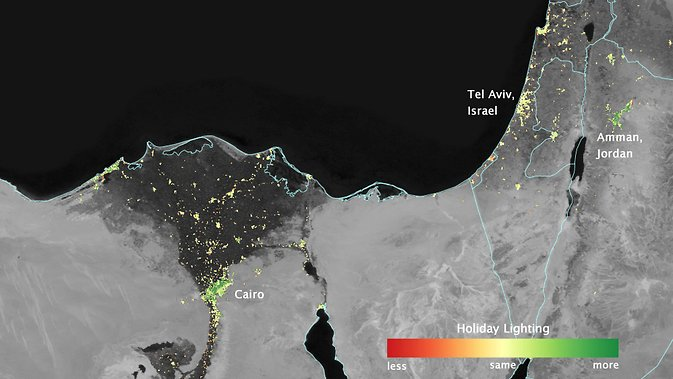 In several cities in the Middle East, city lights brighten during the Muslim holy month of Ramadan, as seen using a new analysis of daily data from the NASA-NOAA Suomi NPP satellite. Dark green pixels are areas where the lights are 50 percent brighter, or more, during Ramadan. Image Credit: NASA's Earth Observatory/Jesse Allen