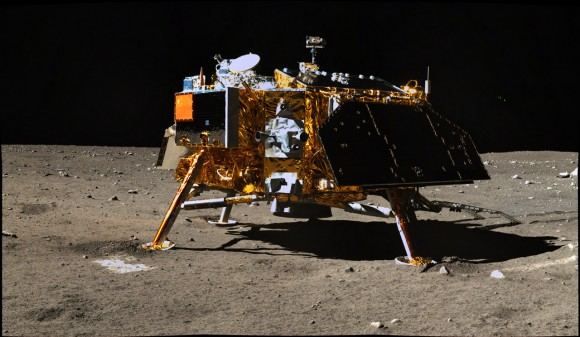 Chang'e-3 viewed from the Yutu lunar rover. The mission began in December 2013. Credit: Chinese Academy of Sciences