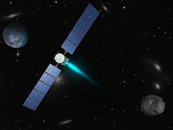 Artist's concept depicting the Dawn spacecraft thrusting with its ion propulsion system as it travels from Vesta (lower right) to Ceres (upper left). The galaxies in the background are part of the Virgo supercluster. Dawn, Vesta, and Ceres are currently in the constellation Virgo from the perspective of viewers on Earth. (Image credit: NASA/JPL)