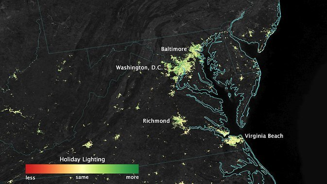 City lights shine brighter during the holidays in the U.S. when compared with the rest of the year, as shown using a new analysis of daily data from the NASA-NOAA Suomi NPP satellite. Dark green pixels are areas where lights are 50 percent brighter, or more, during December. Image Credit: NASA's Earth Observatory/Jesse Allen