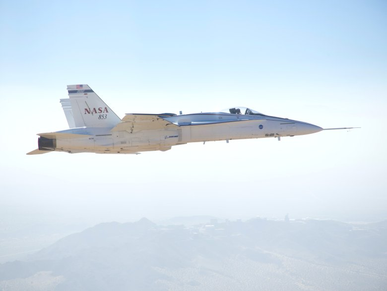 An F/A-18 research jet simulated flight conditions that NASA's Space Launch System may experience as it makes its way from the launch pad to space in order to evaluate the rocket's flight control system. Image Credit: NASA / Jim Ross