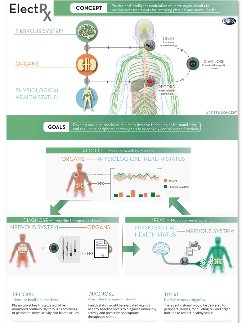 "DARPA's Electrical Prescriptions (ElectRx, pronounced ""electrics"") program aims to develop groundbreaking technologies that would use the body's innate neurophysiology to restore and maintain health. ElectRx would leverage advanced sensing and stimulating technologies to target specific peripheral neural circuits that control organ functions. These feedback-controlled neuromodulation technologies would monitor health status and intervene as needed to deliver patient-specific therapeutic patterns of stimulation designed to restore a healthy physiological state. The program seeks to create ultraminiaturized devices that would require only minimally invasive insertion procedures such as injectable delivery through a needle. DARPA is seeking innovative research proposals to help transform neuromodulation therapies from last resort to first choice for a wide range of diseases."