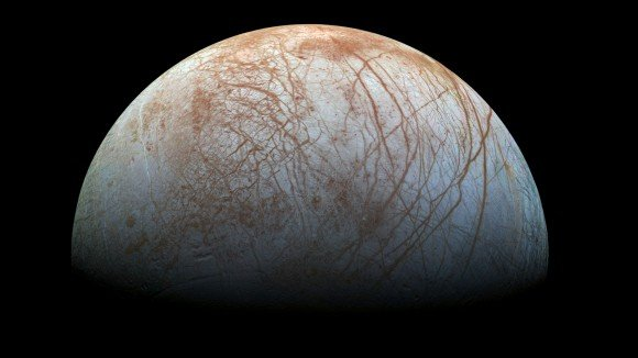 """A """"true color"""" image of the surface of Jupiter's moon Europa as seen by the Galileo spacecraft. Image credit: NASA/JPL-Caltech/SETI Institute"""