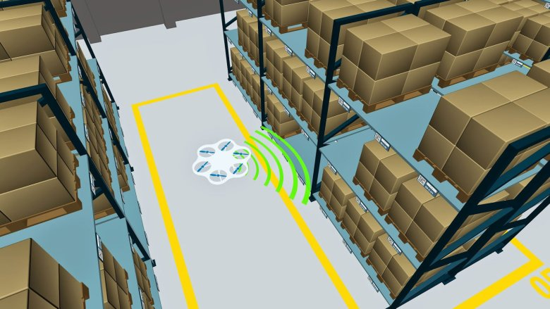 The autonomous fl ying robot will soon be capable of independent navigation and inventory  administration. © Fraunhofer IML