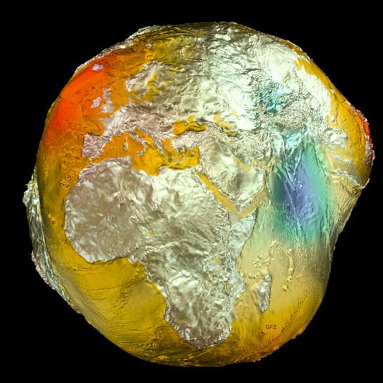 """The Earth's gravitational model (aka the """"Potsdam Potato"""") is based on data from the LAGEOS, GRACE, and GOCE satellites and surface data. Credit: GFZ"""