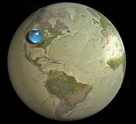 All Earth's water, liquid fresh water, and water in lakes and rivers Spheres showing: (1) All water (sphere over western U.S., 860 miles in diameter) (2) Fresh liquid water in the ground, lakes, swamps, and rivers (sphere over Kentucky, 169.5 miles in diameter), and (3) Fresh-water lakes and rivers (sphere over Georgia, 34.9 miles in diameter). Credit: Howard Perlman, USGS; globe illustration by Jack Cook, Woods Hole Oceanographic Institution (©); Adam Nieman.