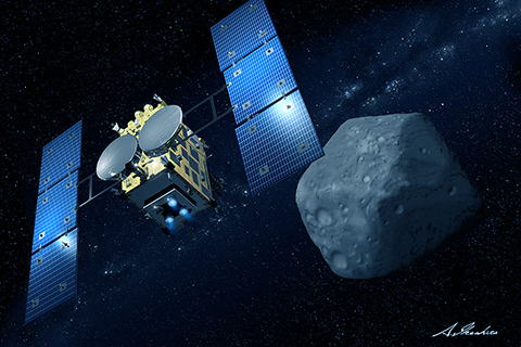 "Asteroid Explorer ""Hayabusa2"" is a successor of ""Hayabusa"" (MUSES-C), which revealed several new technologies and returned to Earth in June 2010. Image Credit: JAXA and Akihiro Ikeshita"