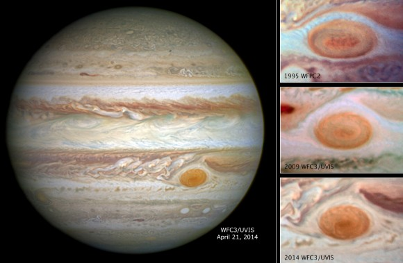 The Hubble Space Telescope shows the shrinking size of Jupiter's Great Red Spot in this series of images taken between 1995 and 2014. Credit: NASA, ESA, and A. Simon (Goddard Space Flight Center)