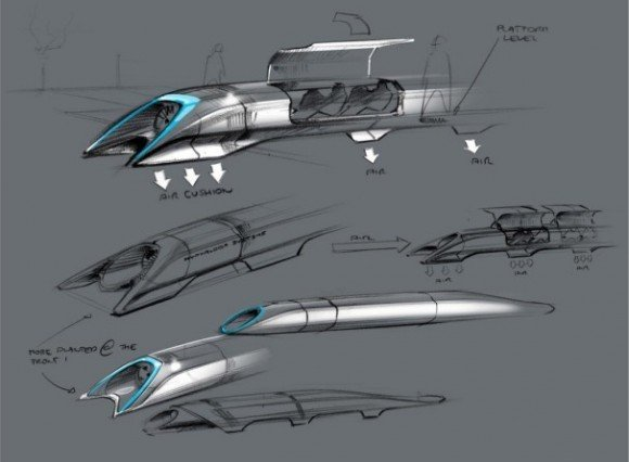 The Hyperloop, as originally conceived within Musk's alpha document. Credit: Tesla Motors