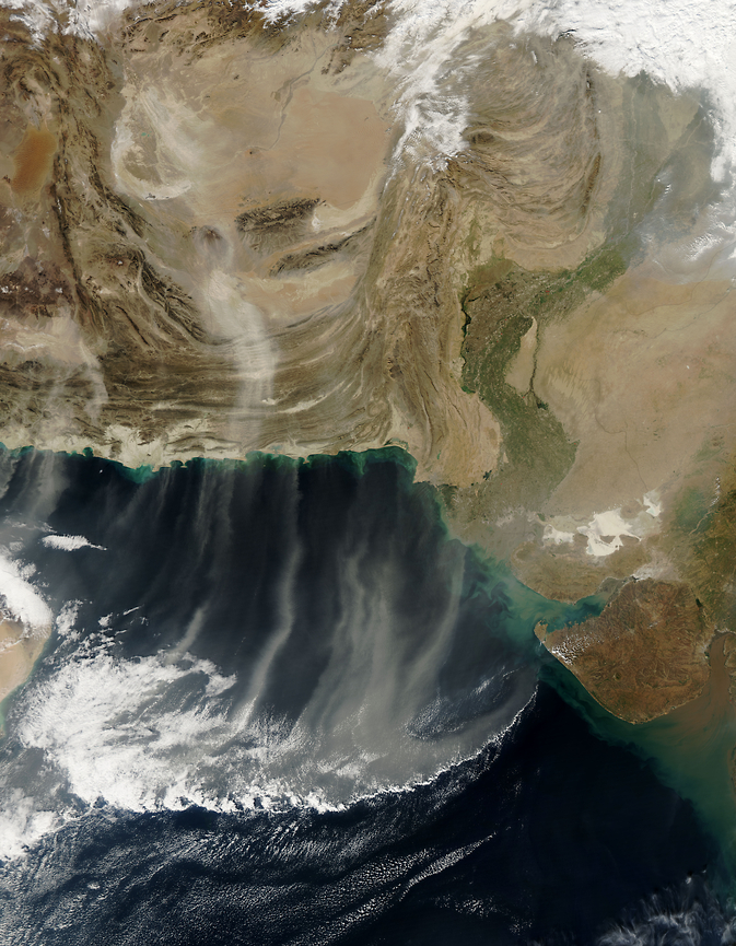 Dust plumes from Iran, Afghanistan and Pakistan blow southward over the Arabian Sea, Dec. 28, 2012. Image Credit: NASA/Goddard/MODIS Land Rapid Response