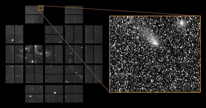 Comet Siding Spring passes through K2's Field-of-View. Image Credit: NASA Ames/W Stenzel; SETI Institute/D Caldwell