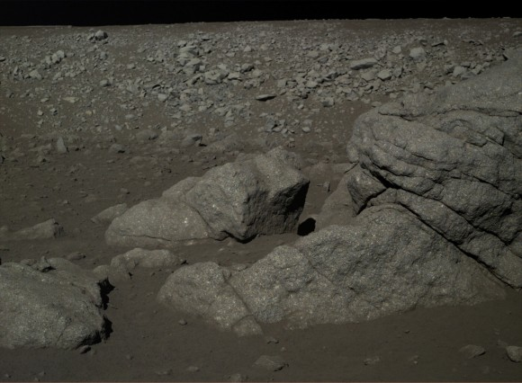 The Chang'e-3 mission's view of lunar rocks. The mission began in December 2013. Credit: Chinese Academy of Sciences