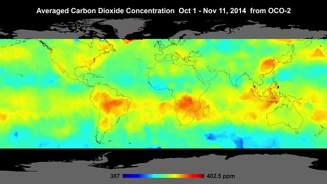 Global atmospheric carbon dioxide concentrations from Oct. 1 through Nov. 11, as recorded by NASA's Orbiting Carbon Observatory-2. Carbon dioxide concentrations are highest above northern Australia, southern Africa and eastern Brazil. Image Credit: NASA/JPL-Caltech