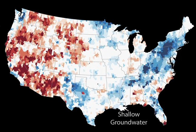 Combining data from NASA's Gravity Recovery and Climate Experiment (GRACE) mission and other satellite observations within a numerical model is enabling high-resolution, timely mapping of groundwater and soil wetness conditions that are a key input to the U.S. Drought Monitor maps. Image Credit: NASA