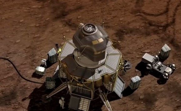 """A futuristic Mars lander portrayed in a December 2014 video from Boeing called """"The Path To Mars."""" Credit: Boeing / YouTube (screenshot)"""