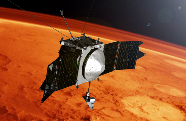 NASA's MAVEN mission is observing the upper atmosphere of Mars to help understand climate change on the planet. MAVEN entered its science phase on Nov. 16, 2014. Image Credit: NASA's Goddard Space Flight Center